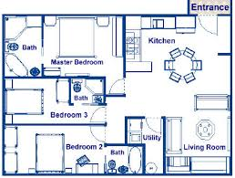 Home Design For 3 Room Flat Contemporary Floor Plans For 3 Bedroom Houses N On Ideas