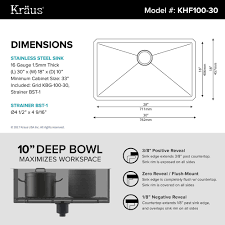 kraus 30 inch undermount single bowl 16 gauge stainless steel kitchen sink with noisedefend 8482
