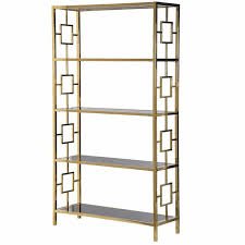 terano gold frame black mirrored glass open bookcase