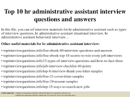 Hr Administrative Assistant Resume Sample Top 10 Hr Administrative Assistant Interview Questions And Answers 1 638 Jpg Cb U003d1428636430
