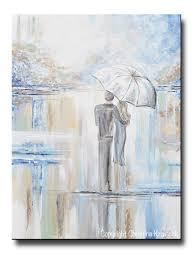 original art abstract painting couple with umbrella romantic walk