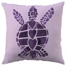 Turtle Love Purple Throw Pillow Beach Style Decorative Pillows