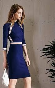 karen millen placed stripes stretch dress navy http