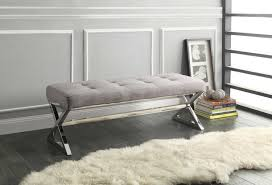 living room bench homelegance rory x base bench grey linen 4605gy