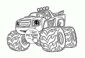 blaze monster truck cartoon coloring page for kids transportation