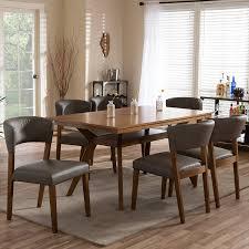 amazon com baxton studio 7 piece montreal mid century dining set