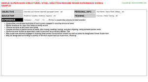 Warehouse Job Duties For Resume by Structural Steel Foreman Resumes Samples