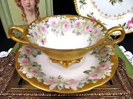roses teacups tv limoges tea cup and saucer painted pattern all gold