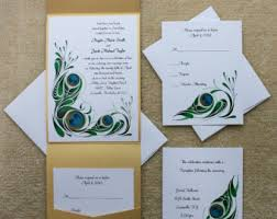 peacock wedding invitations peacock wedding invitations etsy