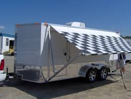 Trailer Awning 7 16 Enclosed Motorcycle Cargo Trailer Ac Unit Awning White Race