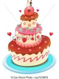clip art vector of wedding cake vector illustration of a wedding