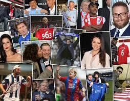 fan faces on a stick famous celebrity football fans of premier league clubs sport