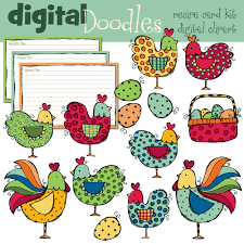hens and roosters digital clip art