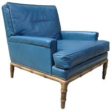 Leather Club Chair Blue Leather Club Chair By Erwin Lambeth For Sale At 1stdibs