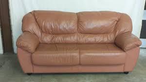 salmon leather 3 seat sofa inside u0026 out