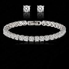 bracelet crystal tennis images 18ct white gold classic tennis bracelet earring made with jpg