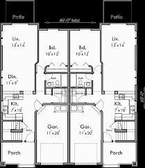 Floor Plans For Duplex Houses Craftsman Duplex House Plans Bungalow Duplex House Plans D 447