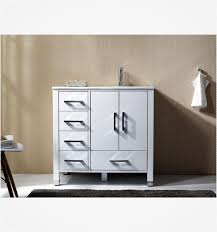 High Gloss Bathroom Vanity Anziano 36 Inch High Gloss White Bathroom Vanity W Quartz Top