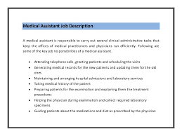 Medical Assistant Job Description Resume by Medical Resume Objective Template Billybullock Us