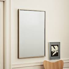 Gold Frame Bathroom Mirror Metal Framed Wall Mirror West Elm In Metal Framed Bathroom Mirrors