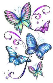 tattoos with blue orange yellow flowers and butterflies