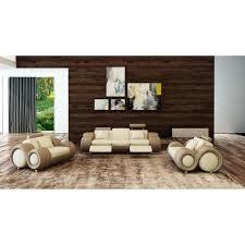 ensemble canape cuir ensemble canapé cuir relax oslo 3 1 1 places beige et marron design