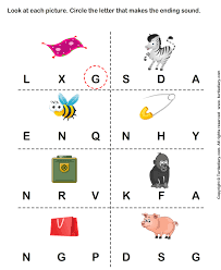 circle the letter that makes the beginning sound of words