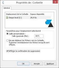 supprimer corbeille bureau confirmation de suppression d un fichier à la corbeille