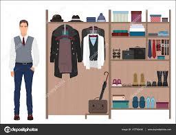 stylish fashion man and mens wardrobe vector mens dressing room
