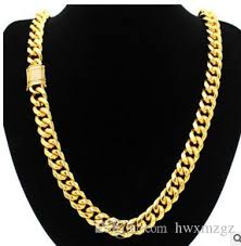 chain lock necklace images 2018 miami cuban link chain box lock 14k gold plated necklace from jpg
