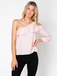 one shoulder blouse minkpink one shoulder blouse in pink