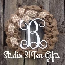 monogram wreath shop personalized door hanger on wanelo