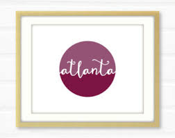 Home Decor Atlanta Atlanta Print Etsy