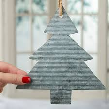 corrugated galvanized metal tree ornament tin