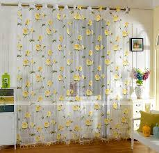 1pc yellow pink flowers thin curtains for living room window