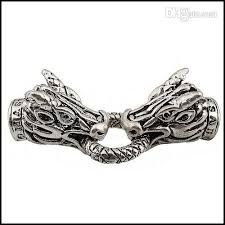 making necklace clasps images Tibetan silver dragon head lock spring clasps end caps with jpg