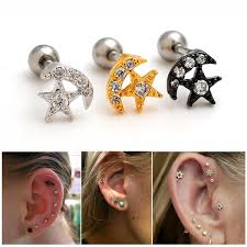 what is surgical steel earrings moon surgical steel ear cartilage tragus forward helix