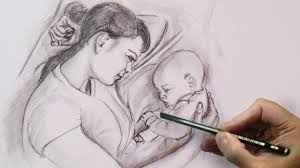 mother u0027s love drawing emotions with pencil step by step youtube
