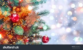 snow decoration christmas tree background christmas decorations snow stock photo