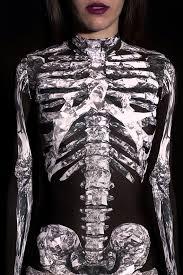 Womens Skeleton Costume Halloween Catsuit Costume Black Full Body Suit Skeleton