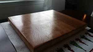 first end grain cutting board made from a single slab of red oak
