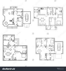 ground floor plans set ground floor blueprints vector furnished stock vector