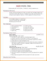Home Health Aide Job Duties For Resume Certified Medical Assistant Resume Sample Registered Medical