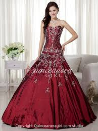 maroon quinceanera dresses burgundy poofy embroidered sweetheart taffeta quinceanera