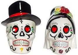 day of the dead wedding skull salt u0026 pepper shakers sourpuss
