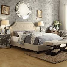 Overstock Bedroom Benches Inspire Q Grace Beige Linen Button Tufted Arched Bridge