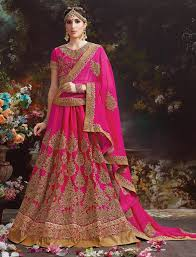 rani pink colour rani colour silk butter crepe with heavy embroidery wedding