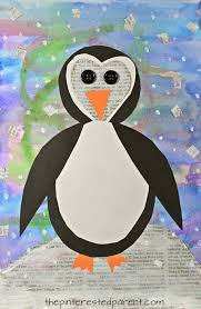mixed media penguin art winter and christmas arts and crafts for