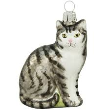 gray tabby cat glass ornament 1200462 baubles n bling