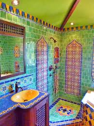moroccan themed bathroom using turkish moroccan and mexican tiles